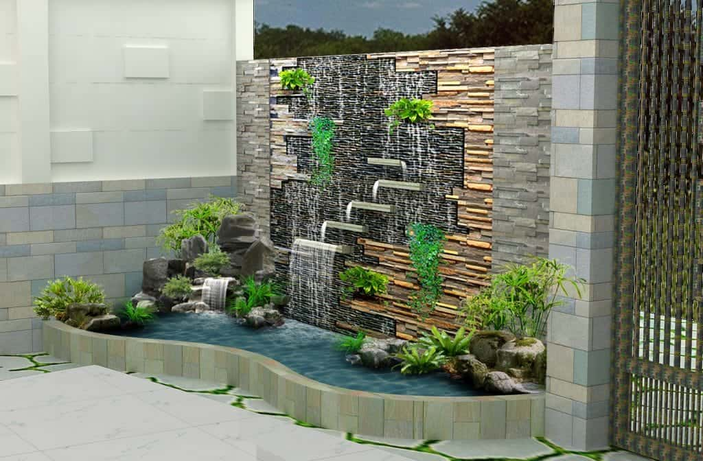 cách làm thác nước trên tường đẹp
