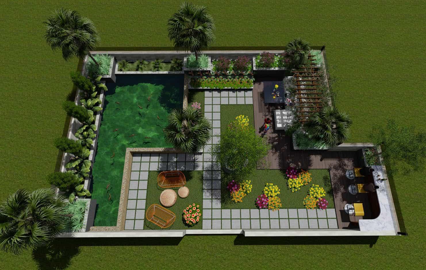 Dự án thiết kế cảnh quan biệt thự anh Sự Bình Tân