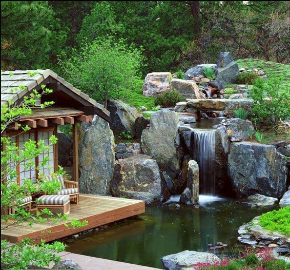 Thiết kế sân vườn quán cafe tiêu cảnh hồ nước