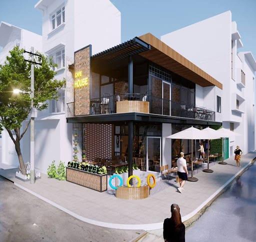 Thiết kế sân vườn quán cafe với khung thép hiện đại