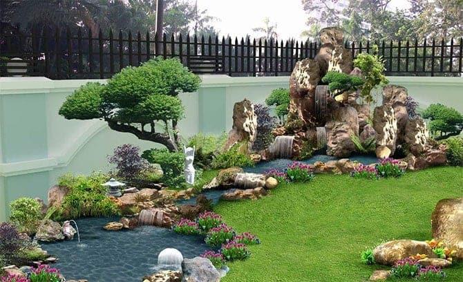 sân vườn kết hợp hòn non bộ